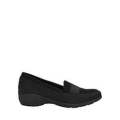 Evans - Extra wide fit black elastic comfort wedge Shoes