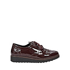 Evans - Extra wide fit burgundy lace up flatform brogue Shoes