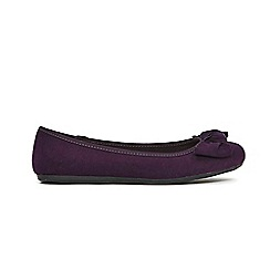 Evans - Extra Wide Fit Purple Knot Bow Detail Ballet Shoes