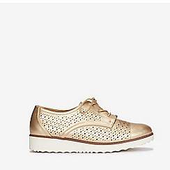 Evans - Extra wide fit gold lace up brogues