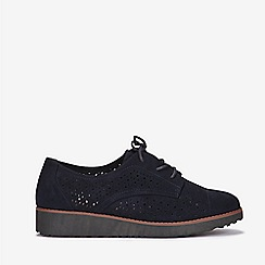 Evans - Extra wide fit navy blue lace up brogues