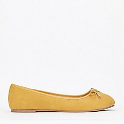 Evans - Wide Fit Yellow Bow Ballerina Shoes