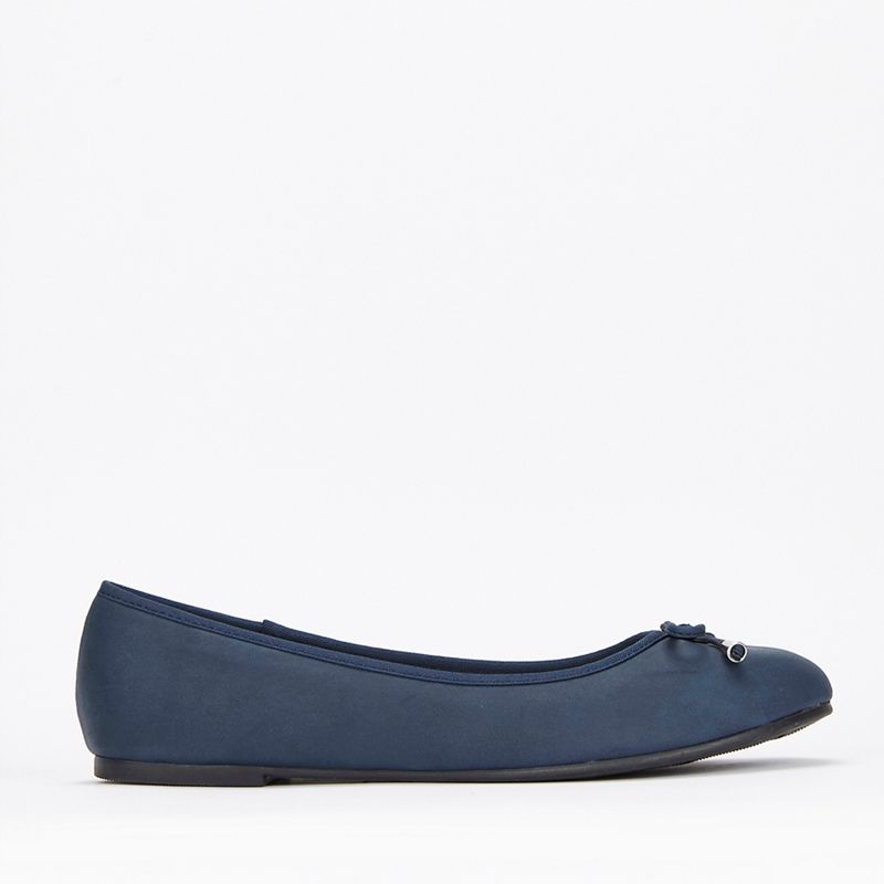Evans - Extra Wide Fit Navy Bow Ballerina Shoes