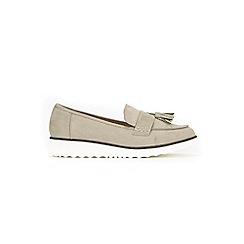 Evans - Extra wide fit grey suedette tassel loafers
