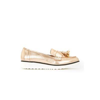 Evans - Extra wide fit rose gold tassel loafers