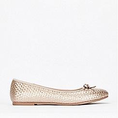 Evans - Wide Fit Gold Weave Ballerina Shoes