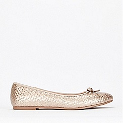 Evans - Extra Wide Fit Gold Weave Ballerina Shoes