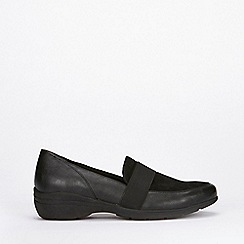 Evans - Extra wide fit black comfort wedges