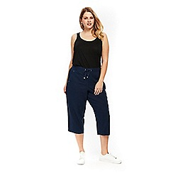Evans - Navy blue linen cropped trousers