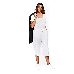 Evans - White linen cropped trousers