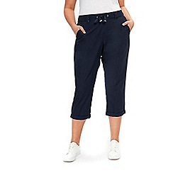 Evans - Navy blue cotton cropped trousers