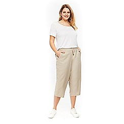 Evans - Neutral linen cropped trousers