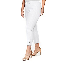 Evans - White cropped popper jeans