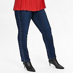 Evans - Indigo stud side straight leg jeans