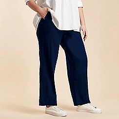Evans - Navy Linen Trousers
