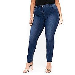 Evans - Blue polka dot skinny jeans