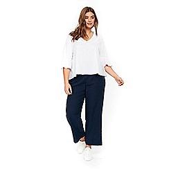 Evans - Navy blue linen trousers