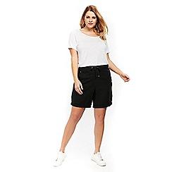 Evans - Black linen shorts