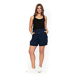 Evans - Navy blue linen shorts