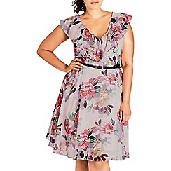 Evans - City chic floral ruffle skater dress