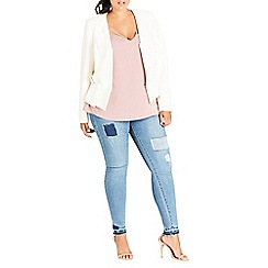 Evans - City chic white buckle side jacket
