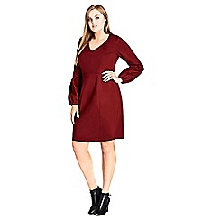 Evans - City chic red balloon sleeve dress