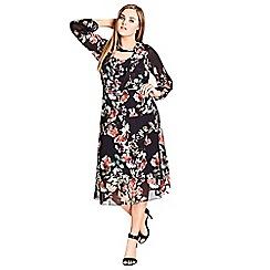 Evans - City chic multicolour sheer skater dress