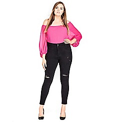 Evans - City chic ripped skinny fit Asha jeans
