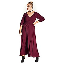 Evans - City chic berry red button maxi dress