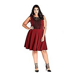 Evans - City chic red ruby motif skater dress