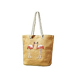 Yumi - Cream Embrodiered Flamingo Bag