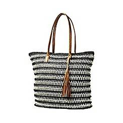 Yumi - Multi Natural Weaved Nautical Bag With Tassel