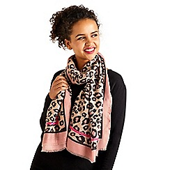 Yumi - Pink Leopard Print Scarf with Pink Border Det