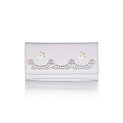 Yumi - Grey embroidered flower purse