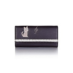 Yumi - Black women's cat embroidered wallet