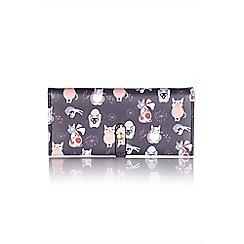 Yumi - Black women's buttoned cat wallet