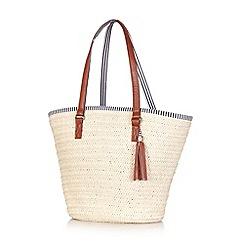 Yumi - Beige straw carrier with polyurethane tassel