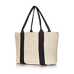 Yumi - Beige woven straw black stripe bag