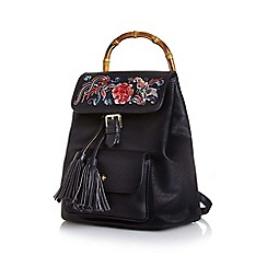 Yumi - Black bamboo detail embroidered backpack