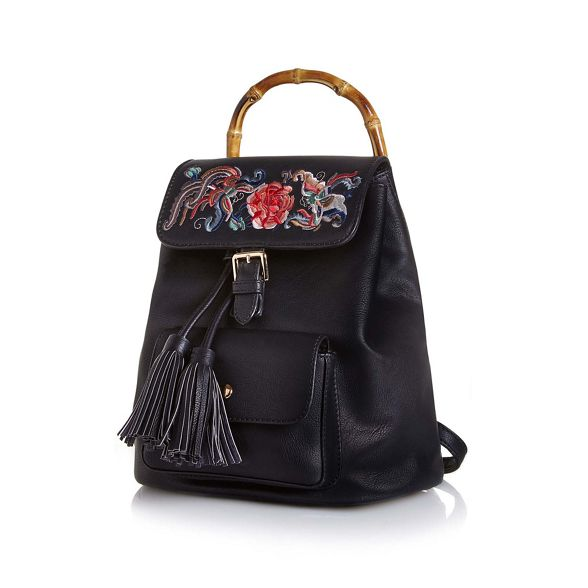 bamboo Yumi Black backpack detail embroidered vYRxq8PwH