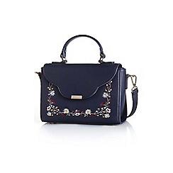 Yumi - Navy ladies embroidered handbag