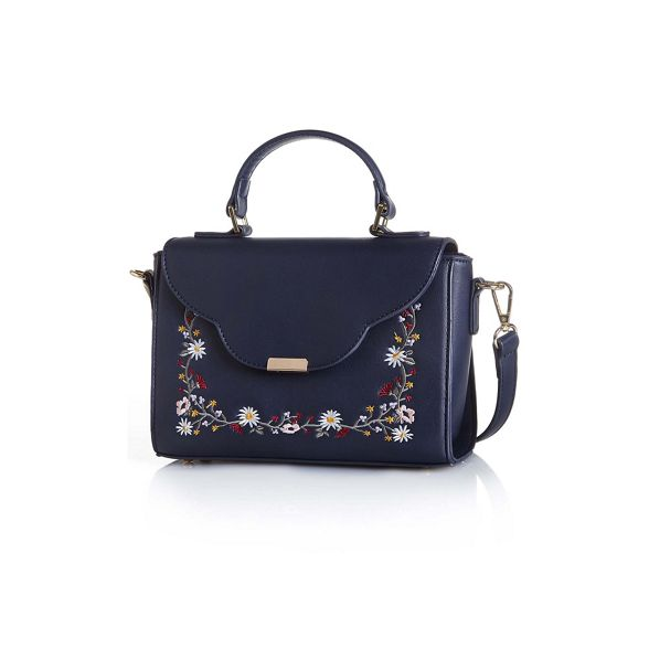 Yumi Navy Yumi Navy embroidered handbag ladies qwq7RE