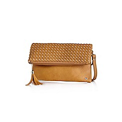 Yumi - Tan textured tassel clutch bag
