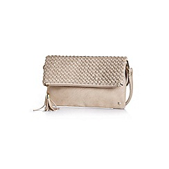 Yumi - Beige textured tassel clutch bag