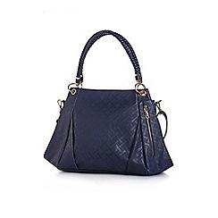 Yumi - Navy ladies textured polyurethane handbag