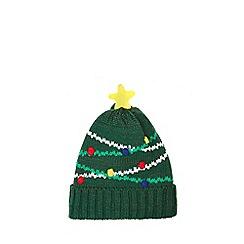 Yumi - Green christmas tree knit beanie hat