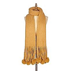 Yumi - Mustard tassel and pom pom scarf