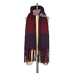 Yumi - Red block tassel scarf