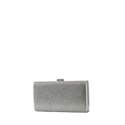 Yumi   Silver Jewelled Clutch Bag by Yumi