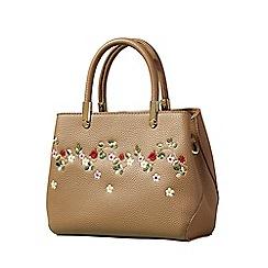 Yumi - Beige floral embroidered handbag